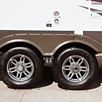 Automotive-styled aluminum rims look great pulling into every campground.
