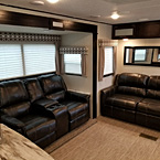 The 3211RK boasts a larger open concept Living room area with Residential H-A-B Sleeper Sofa and Console Theatre seating.